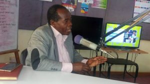 Prof. Charles Ssekyewa (CERD) during the radio talk show focusing on soil health management