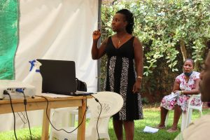 Ms. Jane Nalunga facilitating a session on 'PGS Systems' during the Certification & Standards' training