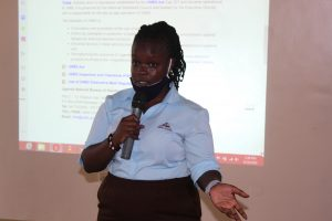 Ms. Desire Kenganzi (UNBS) sharing 'The next steps after scientific innovations and popularization + marketing guidelines.'