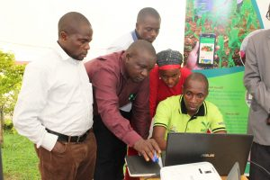 Participants during a practical session of 'Professional Video Development'